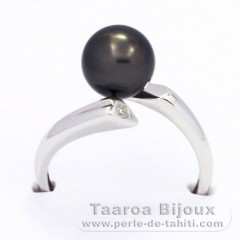 Rhodiniertem 925er Sterling Silber Ring und 1 RundTahitiPerle B 8.3 mm