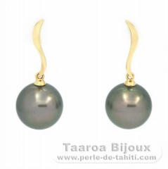 18K solid Gold Earrings and 2 Tahitian Pearls Round B 11.5 mm