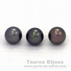Lot de 3 Perles de Tahiti Semi-Rondes C de 8.8 à 8.9 mm
