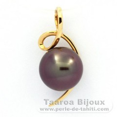 18K solid Gold Pendant and 1 Tahitian Pearl Round B 9.2 mm