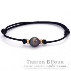 Waxed Cotton Bracelet and 1 Tahitian Pearl Semi-Baroque B 8.6 mm