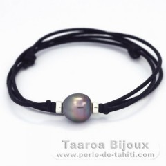 Waxed Cotton Necklace and 1 Tahitian Pearl Semi-Baroque C 11.9 mm