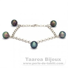 Rhodiated Sterling Silver Bracelet and 5 Tahitian Pearls Ringed B  8.8 to 9 mm