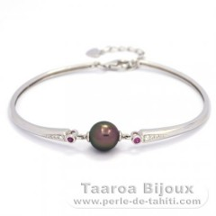 Rhodiated Sterling Silver Bracelet and 1 Tahitian Pearl Round B 8.7 mm