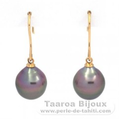 Boucles d'Oreilles en Or 18K et 2 Perles de Tahiti Semi-Baroques B 9.7 mm