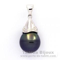 Pendentif en Argent .925 et 1 Perle de Tahiti Cerclée C 11.5 mm