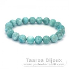 Bracelet of 20 Larimar Beads - 15.5 cm - 26 gr