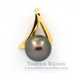 Pendentif en Or 18K et 1 Perle de Tahiti Ronde B 8.2 mm