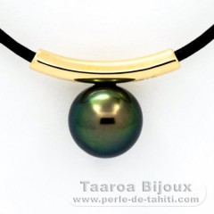 Colgante de Oro 18Kl y 1 Perla de Tahiti Redonda C 10 mm