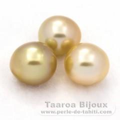 Lot de 3 Perles Australiennes Semi-Baroques C de 9.1 à 9.5 mm