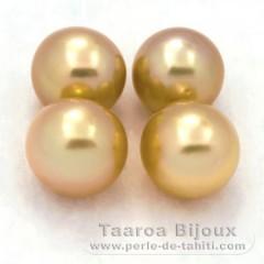 Lot de 4 Perles Australiennes Semi-Rondes C de 8.8 à 9.4 mm