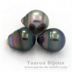 Lot of 3 Tahiti Pearls Ringed B from 9.3 to 9.6 mm
