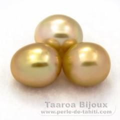 Lot de 3 Perles Australiennes Semi-Baroques C de 12.5 à 12.6 mm