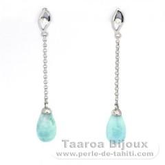 Silber Ohrringe und 2 Larimar - 10 x 6 mm - 1.15 gr