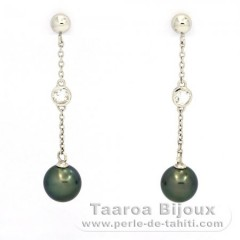 Orecchini in Argento e 2 Perle di Tahiti Semi-Rotonda B 9.3 mm