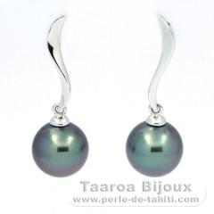 Boucles d'Oreilles en Or blanc 18K et 2 Perles de Tahiti Rondes B 8.3 mm