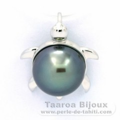 18K Solid White Gold Pendant and 1 Tahiti Pearl Round B 9.7 mm