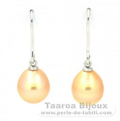 Rhodiated Sterling Silver Earrings and 2 Australian Pearls Semi-Baroque B 9.2 mm