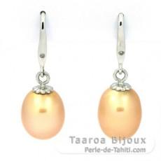 Rhodiated Sterling Silver Earrings and 2 Australian Pearls Semi-Baroque C 9.1 mm