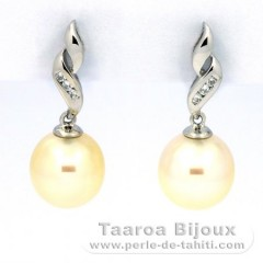 Rhodiated Sterling Silver Earrings and 2 Australian Pearls Semi-Baroque B and C 9.7 mm