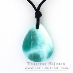 Cotton Necklace and 1 Larimar - 22 x 17 x 6 mm - 3.9 gr