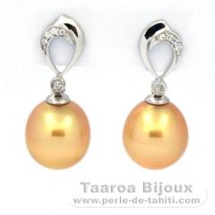 Rhodiated Sterling Silver Earrings and 2 Australian Pearls Semi-Baroque C 10.3 mm