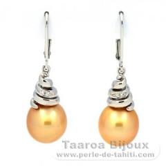 Rhodiated Sterling Silver Earrings and 2 Australian Pearls Semi-Baroque C 10.1 mm