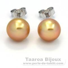 Rhodiated Sterling Silver Earrings and 2 Australian Pearls Semi-Baroque B 8.6 mm