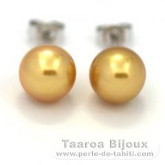Rhodiated Sterling Silver Earrings and 2 Australian Pearls Semi-Baroque C 8.8 mm