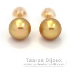 Boucles d'oreilles en Or 18K et 2 Perles d'Australie Semi-Baroques B 8 mm