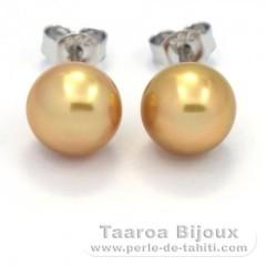 Rhodiated Sterling Silver Earrings and 2 Australian Pearls Semi-Baroque B 8.3 mm