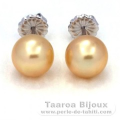 Rhodiated Sterling Silver Earrings and 2 Australian Pearls Round B and C 9.5 mm