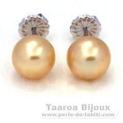 Orecchini in Argento e 2 Perle di Australia Rotonda B e C 9.5 mm
