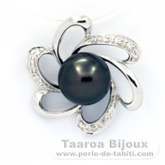 Rhodiated Sterling Silver Pendant and 1 Tahiti Pearl Round C 8.8 mm