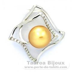 Ciondolo in Argento e 1 Perla de Australia Semi-Rotonda B 8.7 mm