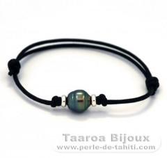 Waxed Cotton Bracelet and 1 Tahiti Pearl Ringed B 9.2 mm