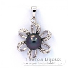 Rhodiated Sterling Silver Pendant and 1 Tahiti Pearl Near-Round C 8 mm