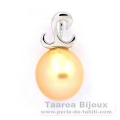 Pendentif en Argent .925 et 1 Perle d'Australie Semi-Baroque B 9.7 mm