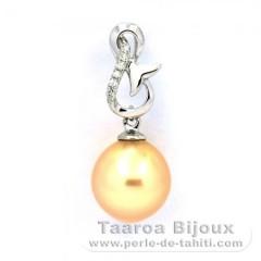 Ciondolo in Argento .925 e 1 Perla de Australia Semi-Barocca C 9.6 mm