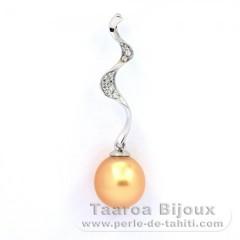 Pendentif en Argent et 1 Perle d'Australie Semi-Baroque A+ 9 mm