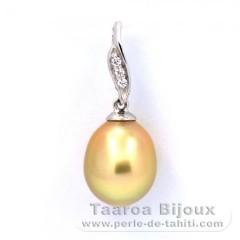 Pendentif en Argent et 1 Perle d'Australie Semi-Baroque A+ 9.1 mm