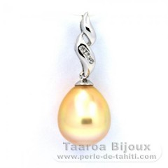 Rhodiated Sterling Silver Pendant and 1 Australian Pearl Semi-Baroque C 10.6 mm