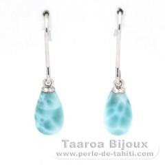 .925 Silber Ohrringe und 2 Larimar - 10 x 6 mm - 1.1 gr