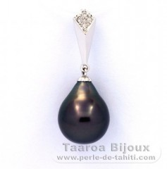 Pendentif en Or 14K + 4 Diamants 0.02 carats VS1 et 1 Perle de Tahiti Semi-Baroque A 9.9 mm