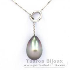Collana in Argento .925 e 1 Perla di Tahiti Cerchiate B 10.7 mm