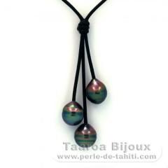 Leder Halsband und 3 Gekreiste TahitiPerlen C+  9.9 bis 10.3 mm