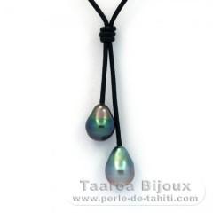Collar de Cuero y 2 Perlas de Tahiti Barrocas C+ 9.5 mm