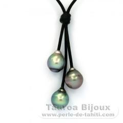 Leder Halsband und 3 Gekreiste TahitiPerlen B  9.5 bis 9.8 mm