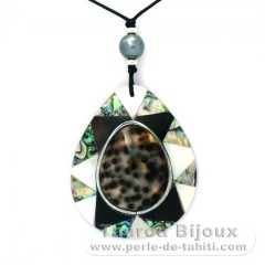 Cotton Necklace and 1 Tahitian Pearl Near-Round C 9.4 mm