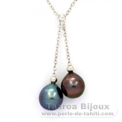 Rhodiated Sterling Silver Necklace and 2 Tahitian Pearls Semi-Baroque C+ 9.6 mm